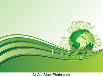 ziemia, środowisko, zielony, ba, ikona