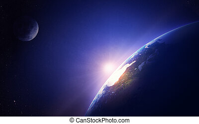 ziemia, ameryka, północ, wschód słońca