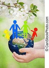 ziemia, children`s, rodzina, siła robocza