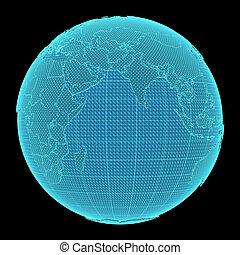 ziemia, czarnoskóry, hologram, tło