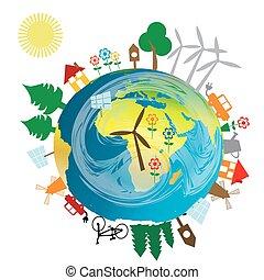 ziemia, ekologiczny, pojęcie, kula
