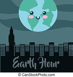 ziemia, godzina, rysunek