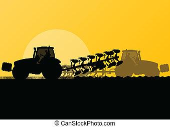 ziemia, kraj, ilustracja, pole, wektor, ziarno, traktor, tło...