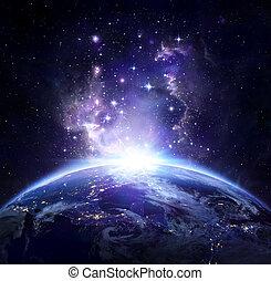 ziemia, prospekt, z, przestrzeń, w nocy, -, na