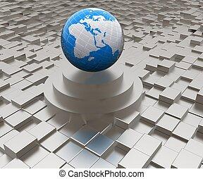 ziemia, przeciw, abstrakcyjny, tło, podium, miejski