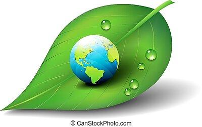 ziemia, symbol, liść, ikona