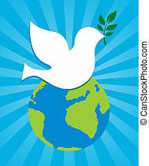 ziemia, symbol, pokój, gołębica, znak