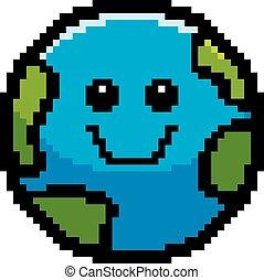 ziemia, uśmiechanie się, 8-bit, rysunek