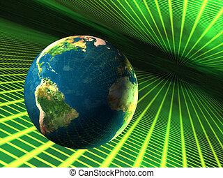 ziemia, w, cyberspace