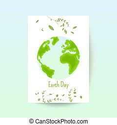 ziemia, wektor, dzień, karta, rysunek