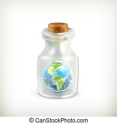 ziemia, wektor, ikona, butelka