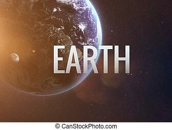 ziemie, inspirujący, napis, collage, planet., nasa., tło, wizerunki