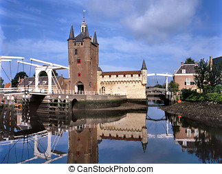 Zierikzee - View on lift bridge and city wall of this old...