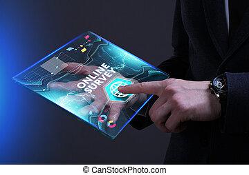 ziet, netwerk, werkende , inscription:, concept., internet, jonge, feitelijk, zakelijk, toekomst, onderzoeken; inspecteren;, online, zakenman, scherm, technologie