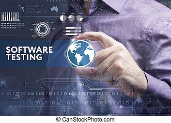 ziet, netwerk, werkende , inscription:, concept., testen, jonge, feitelijk, zakelijk, toekomst, internet, zakenman, technologie, scherm, software