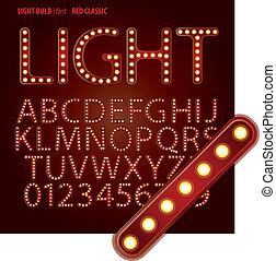 ziffer, klassisch, alphabet, vektor, glühlampe, rotes