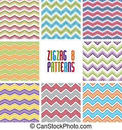 Zig zag geometric seamless patterns set, vector backgrounds...