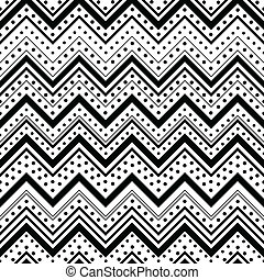 Zig zag seamless pattern with black dots and lines over white background