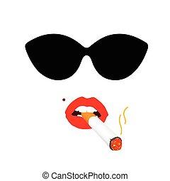 zigarette, frau, abbildung, gesicht