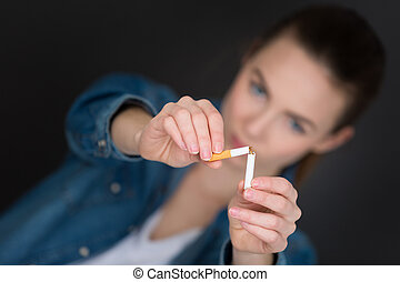 zigarette, frau, druchbrechen , junger