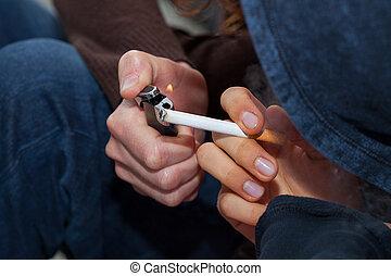 zigarette, in, hand