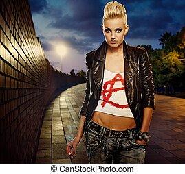 zigarette- mädchen, draußen, punker