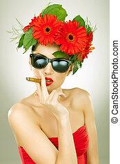 zigarre, frau, schöne , rauchwolken, bereit