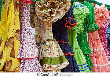 zigeuner, andalusian, kleidet, spanien, reihe