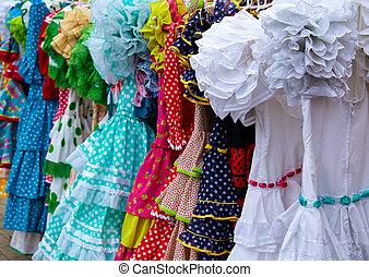zigeuner, andalusian, spanien, kleidet, markt