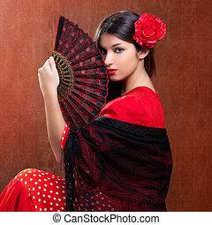 zigeuner, flamenco tänzer, spanien, m�dchen, mit, rot stieg