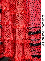 zigeuner, stippen, textuur, achtergrond, jurkje, rood