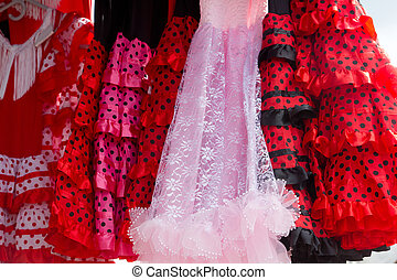zigeuner, tänzer, flamenco, kostüme, reihe