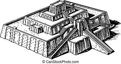 Ziggurat - Ancient ziggurat on white background