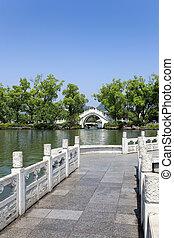 zigzag bridge and stone arch bridge