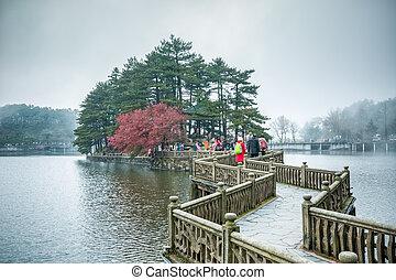 zigzag bridge in the lake