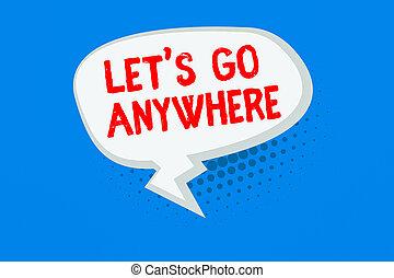 zigzag, business, texte, shade., concept, balloon, oblong, queue, aller, relâcher, lets, anywhere., endroits, parole, écriture, vide, mot, étrangers, jouir de, bulle, halftone, rencontrer, nouveau, visite