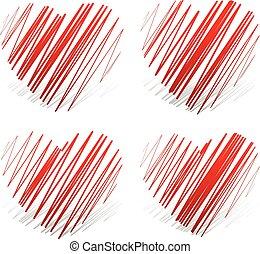 Zigzag hearts.
