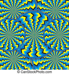 You will not believe your eyes as these zigzag-patterned wheels appear to rotate in an abstract background vector illustration of the optical illusion variety. An astonishing perpetual motion illusion! Do not miss this one!