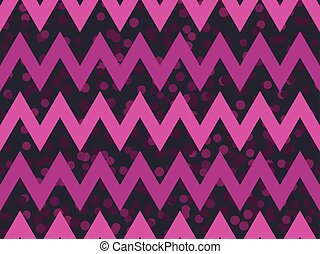Zigzags seamless pattern with dots. Synthwave retro background. Retrowave. Vector illustration