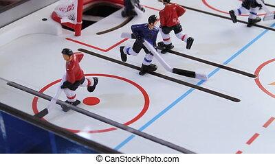 zijaanzicht, ijshockey, ouderwetse , spel