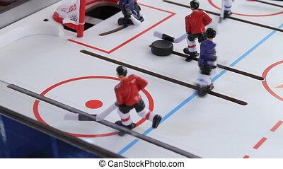 zijaanzicht, twee, hockey, speelbal, retro, spel