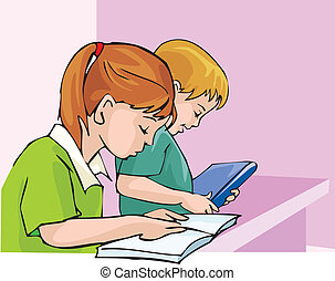 zijaanzicht, van, student, studerend , met, concentratie