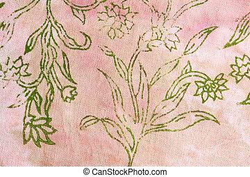 zijde, batik, met, abstract, bloemen