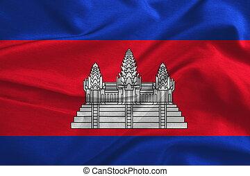 zijde, vlag, textuur, weefsel, cambodja