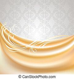 zijde, weefsel, beige, gordijn