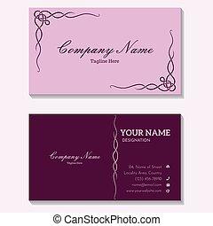#zijdig, premie, kaart, twee, het kijken, zakelijk, vastgesteld ontwerp, luxueus, kleur, roze, viooltje
