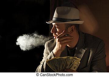 zijn, amn, dollars, hand, weinig, rook, houden