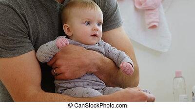 zijn, baby, vasthouden, vader, 4k