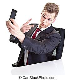 zijn, boeiend, jonge, smartphone, zakenman, selfie, mooi