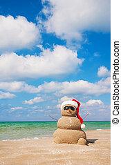 zijn, concept, gebruikt, jaar, snowman., groenteblik, kaarten, nieuw, vakantie, kerstmis, zanderig